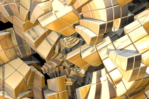 computer generated fractal golden stairs