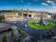 Panoramic view on placa Espanya in Barcelona in summer, Spain