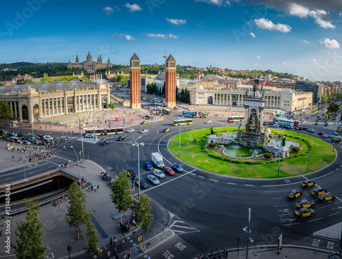 Keuken foto achterwand Barcelona Panoramic view on placa Espanya in Barcelona in summer, Spain