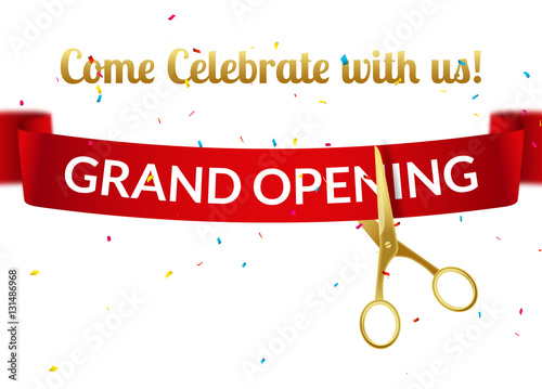 grand opening design template with ribbon and scissors grand open