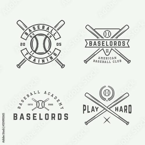 Photo  Set of vintage baseball logos, emblems, badges