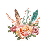 Watercolor vintage floral bouquets. Boho spring flowers and feathers isolated on white background. Hand painted natural design - 131496195