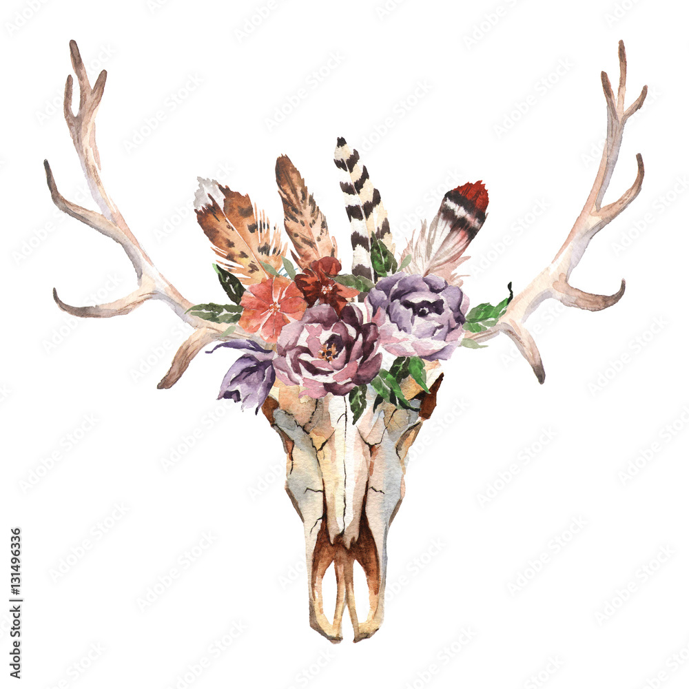 Watercolor isolated deer's head with flowers and feathers on white background. Boho style. Skull for wrapping, wallpaper, t-shirts, textile, posters, cards, prints