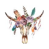 Watercolor isolated bull's head with flowers and feathers on white background. Boho style. Skull for wrapping, wallpaper, t-shirts, textile, posters, cards, prints - 131496352