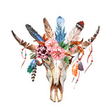 Watercolor isolated bull's head with flowers and feathers on white background. Boho style. Skull for wrapping, wallpaper, t-shirts, textile, posters, cards, prints - 131496365