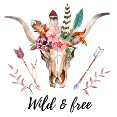 Panel Szklany Do pokoju dziewczyny Watercolor isolated bull's head with flowers and feathers on white background. Boho style. Skull for wrapping, wallpaper, t-shirts, textile, posters, cards, prints