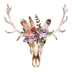 Panel Szklany Boho Watercolor isolated deer's head with flowers and feathers on white background. Boho style. Skull for wrapping, wallpaper, t-shirts, textile, posters, cards, prints