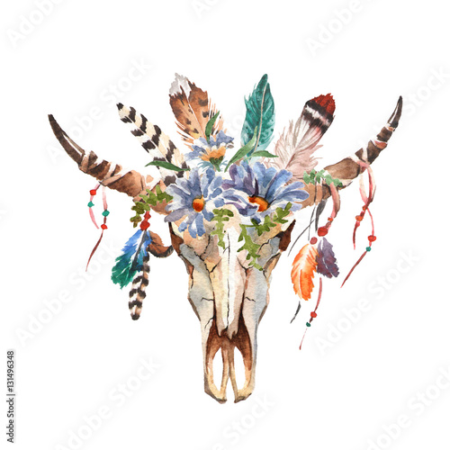 Fényképezés  Watercolor isolated bull's head with flowers and feathers on white background