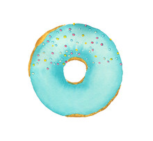 Watercolor Donut With Blue Frosting Isolated On White