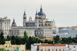 Madrid Panorama with Royal Palace and Almudena Cathedral. Spain.