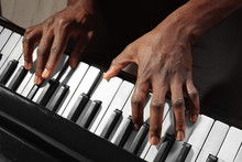 Afro American Man Hands Playing Piano