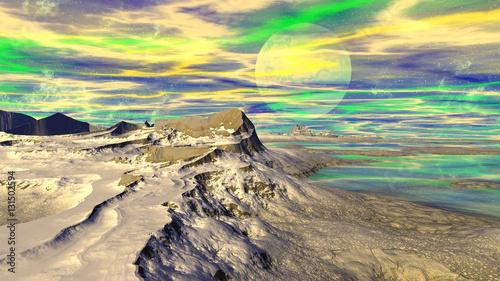 Tuinposter Zwavel geel Fantasy alien planet. Mountain and lake. 3D illustration
