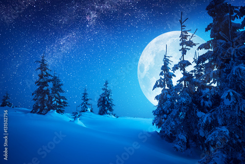 Foto op Canvas Nacht Full moon rising above the winter valley