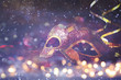 canvas print picture - elegant venetian, mardi gras mask on glitter background