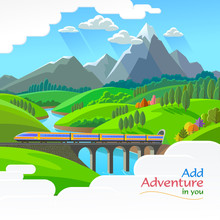 A Train Traveling Over A Bright Across A River And A Beautiful Green Landscape