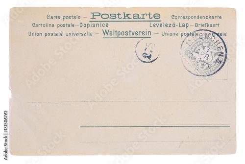 Fotografia  Blank vintage yellowed postcard, circa 1890, back side with old german bavarian