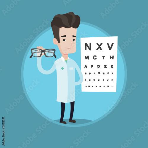 Fotografía  essional ophthalmologist holding eyeglasses.