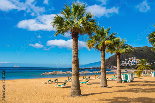 Poster Canary Islands Amazing view of beach las Teresitas, Tenerife, Canary Islands