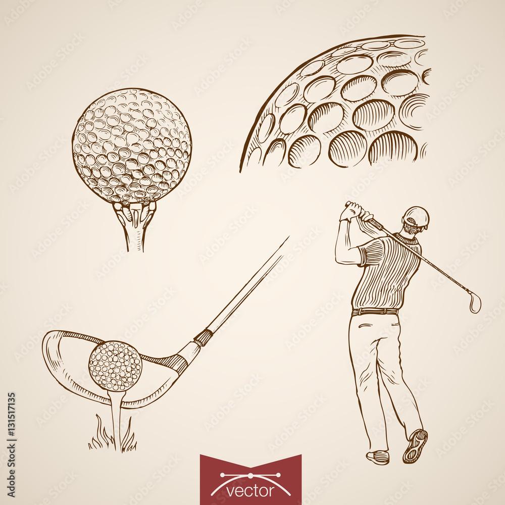 Valokuva Engraving hand vector golf player hitting ball, sport