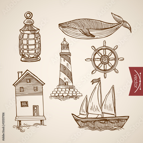 Valokuva  Engraving hand vector lighthouse on sea boat ship water house