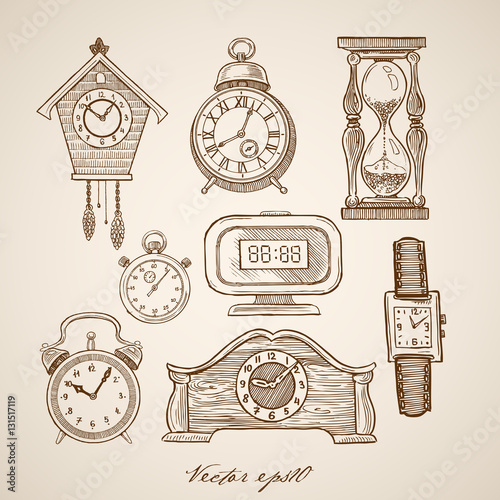 Engraving hand vector clock hourglass cuckoo-clock stopwatch Canvas-taulu