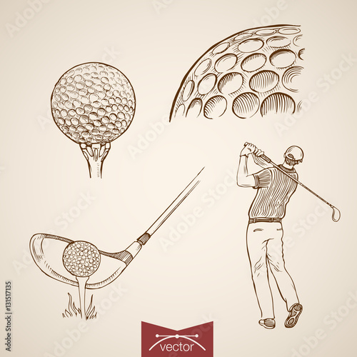 Valokuvatapetti Engraving hand vector golf player hitting ball, sport