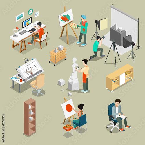 Art studio or workshop 3d flat isometric vector illustration.