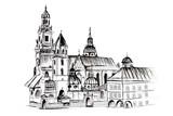 Szkic odręczny. Katedra na Wawelu w Krakowie ręcznie rysowana na białym tle - 131517390