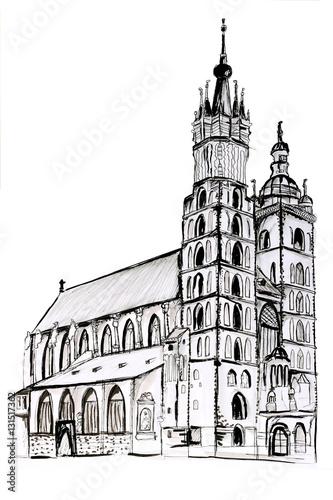 Fototapeta Szkic kościoła Mariackiego w Krakowie. Rysunek na białym tle obraz