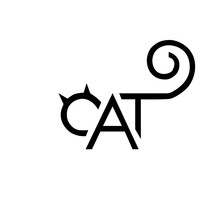 Cat Icon Lettering Emblem Black Letters In The Form Of A Cat Vec