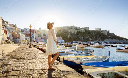 Garden Poster Napels Italian summer fashion - happy girl in a white lacy dress
