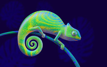 Bright Green Chameleon On Branch, 3d Rendering. View Side