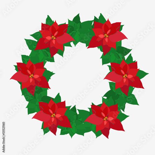 Christmas wreath poinsettia. Plant buy this stock