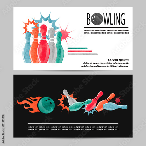 Bowling vector poster, flyer or banner design  Watercolor