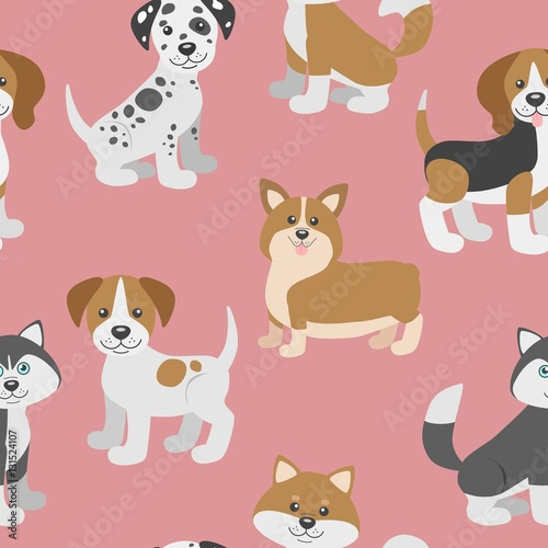 Vector Seamless Pattern With Cute Cartoon Dog Puppies Can Be Used