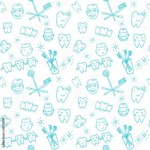 bezszwowe-wektor-wzor-dentysta-kawaii-zbior-recznie-rysowane-obiektow-ladny-szkic-z-lekarzem-zeby-szczoteczka-do-zebow