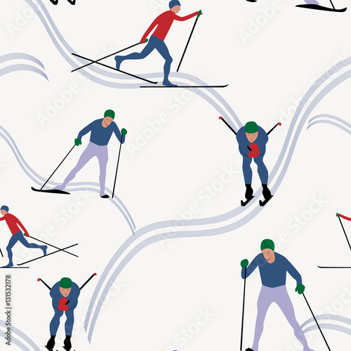 Cotton fabric Seamless pattern skiing in winter, vector