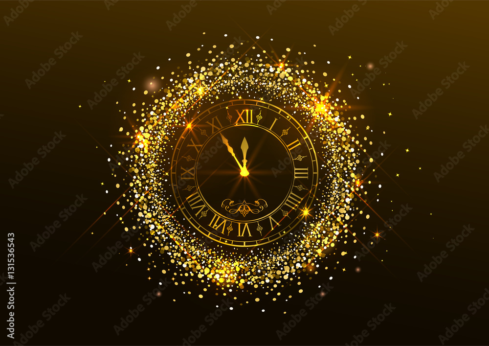 Fototapety, obrazy: Midnight New Year. Clock with Roman numerals and gold confetti on dark background