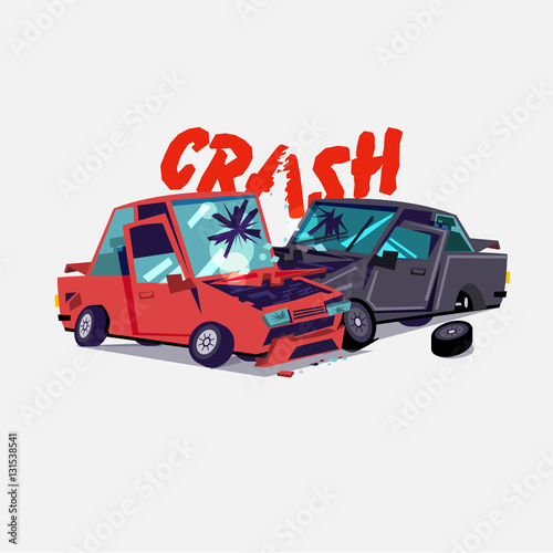 Garden Poster Cartoon cars car crash. accident with two damaged autos. typographic design