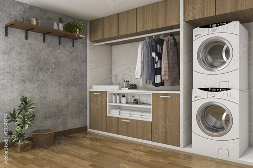 Fotografie, Obraz  3d rendering wood laundry room with concrete wall