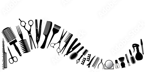 Wave from silhouettes of tools for the hairdresser