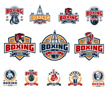 Set Boxing Badges, Stickers Is...