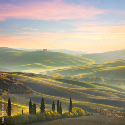 Printed kitchen splashbacks Beige Unique Sundown tuscany landscape
