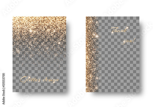 Fotografie, Obraz  Set of backgrounds with shining golden lights on a transparent backdrop