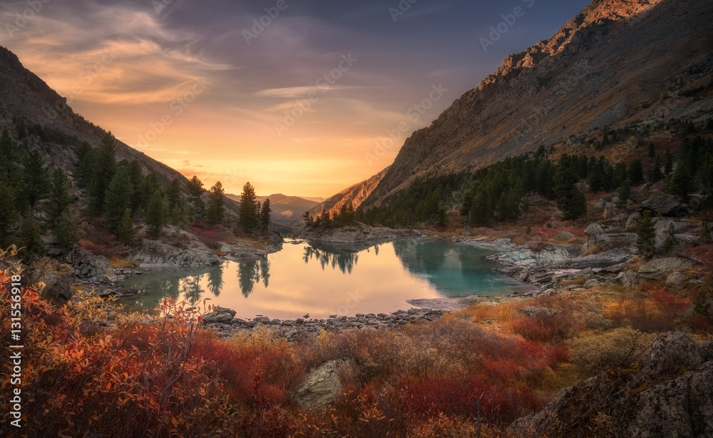 Fototapeta Pink Sky And Mirror Like Lake On Sunset With Red Color Growth On Foreground, Altai Mountains Highland Nature Autumn Landscape Photo