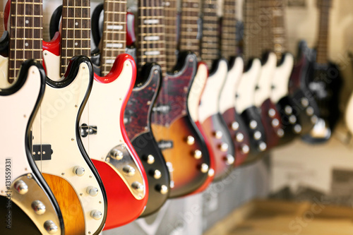 Foto op Canvas Muziekwinkel Guitars in music shop