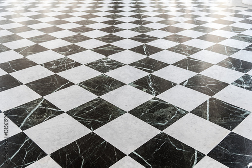 Black and white checkered marble floor Poster Mural XXL