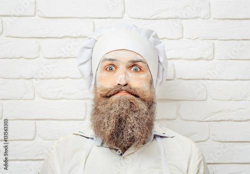 Fototapeta Man with flour on face obraz