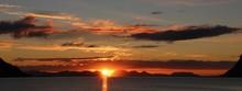 JUST BEFORE MIDNIGHT SUN NEAR HARSTAD, NORWAY, LAPLAND, SCANDINAVIA, EUROPE