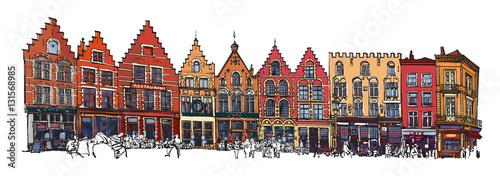 Photo sur Toile Art Studio Belgium, Bruges - old brick house